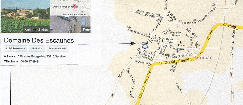 Plan accès Domaine des Escaunes