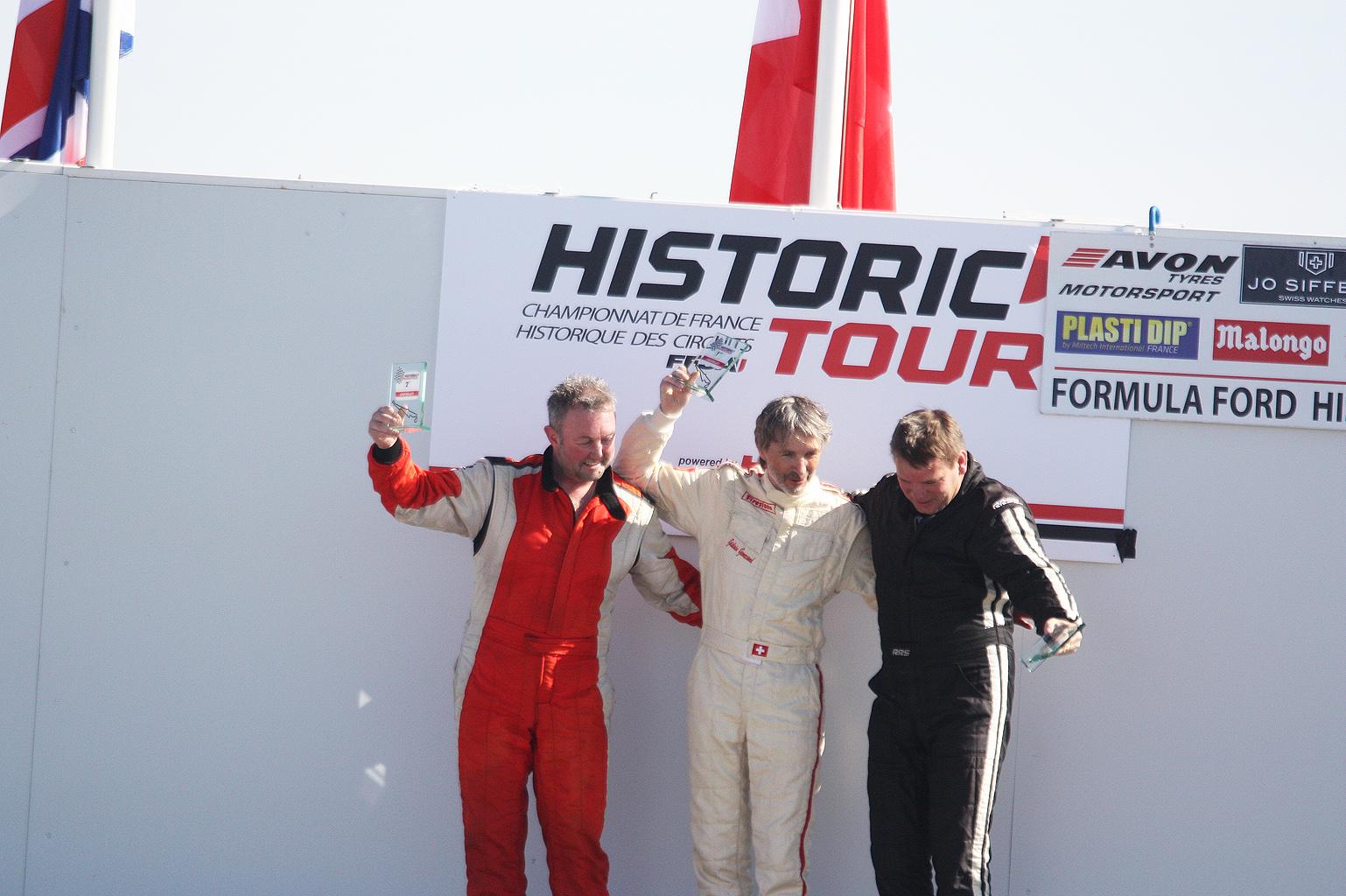 Podium Challenge Motul : Mike Gardner (2nd) - Gislain Genécand (1er) - François Belle (3ème)