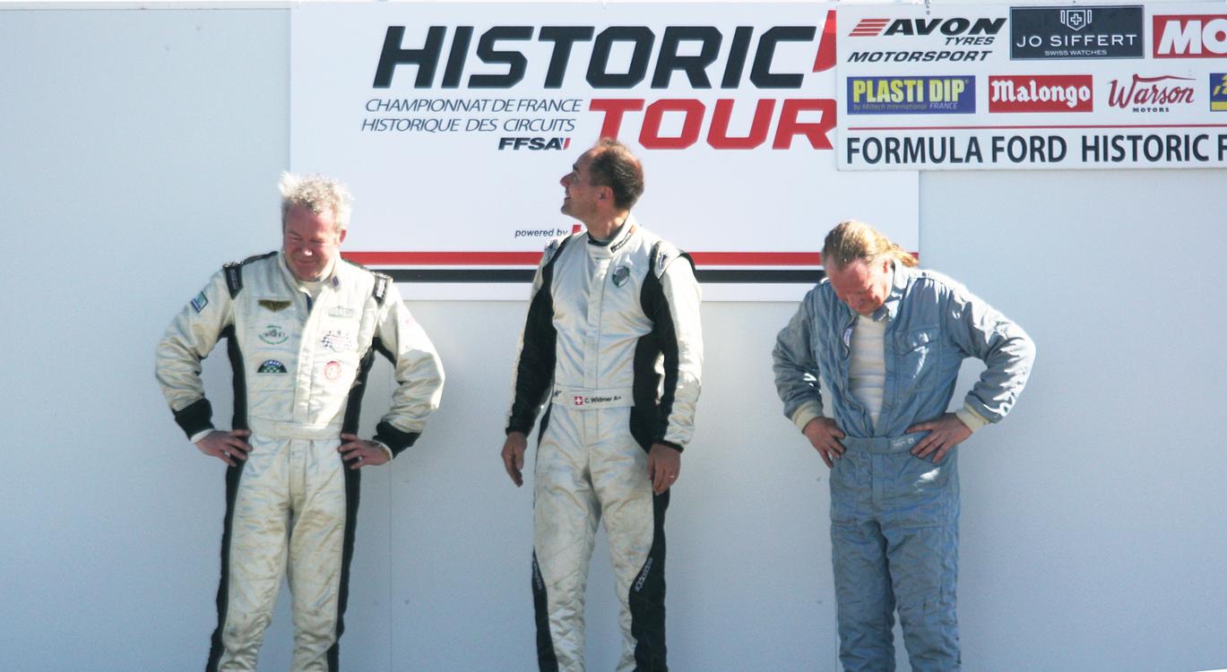 Podium F3 1000 cc : François Derossi ((2nd) - Christoph Widmer (1er) - Roland Fischer (3ème)