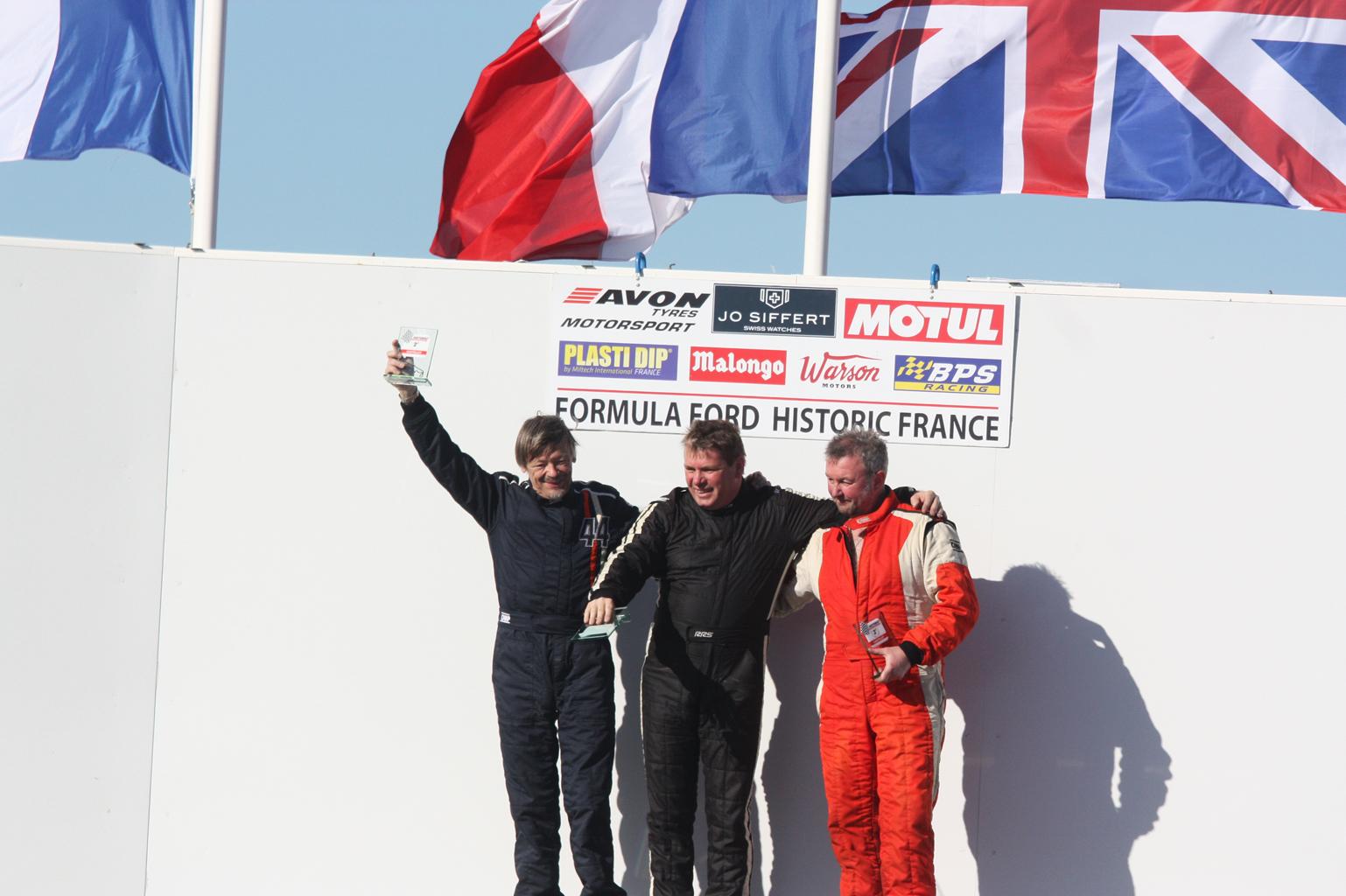 Podium Challenge Motul : Jean Jacques Beverly (2nd) - François Belle (1er) - Mike Gardner (3ème)
